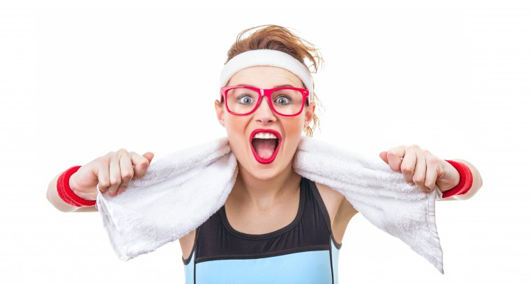 Surprised funny fitness woman ready for gym, sport girl screaming