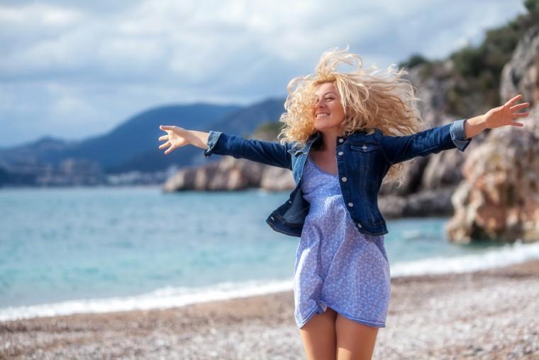 Cheerful woman on a seaside